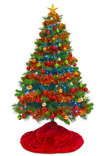 Christmas Tree With Red Skirt Isolated On White
