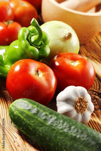 Fotografie, Obraz  spanish cold soup ingredients