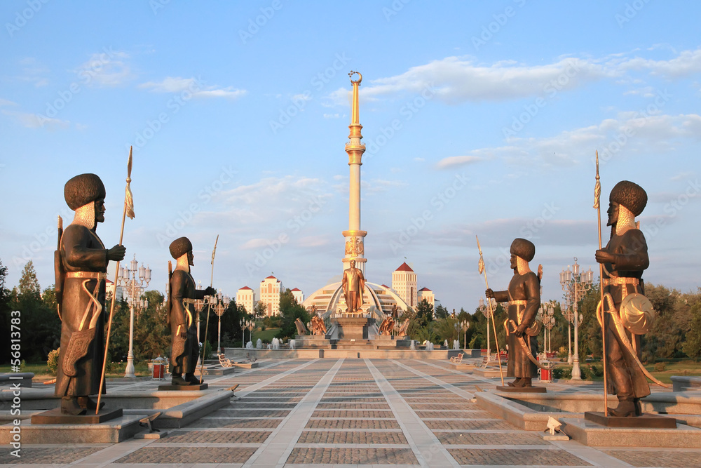 Fototapety, obrazy: Monumen Arch of Independence in sunset. Ashkhabad. Turkmenistan.