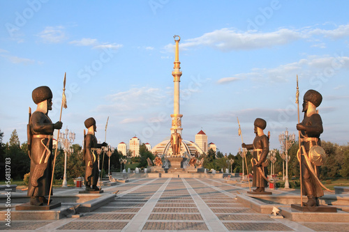 Stampa su Tela  Monumen Arch of Independence in sunset. Ashkhabad. Turkmenistan.