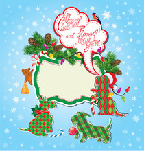 Christmas And New Year Holidays Card With Funny Scottish Terrier