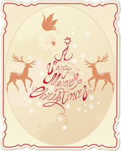 Holiday Card With Hand Written Text A Very Merry Christmas With