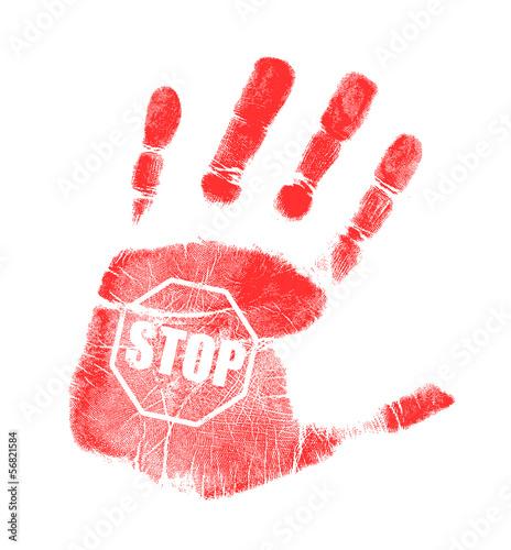 Fotografie, Obraz  handprint stop sign illustration design