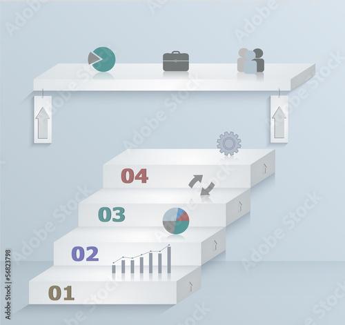 Fotografie, Obraz  Strategic paper template infographics. Step-by-step.