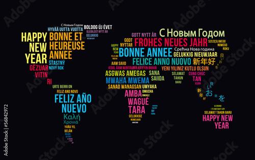 Obraz Mapa świata z życzeniami - fototapety do salonu