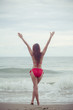 asian woman in red bikini