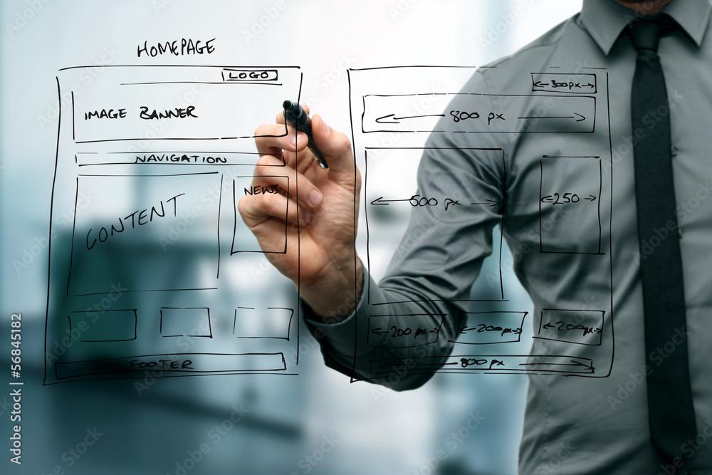 Fototapeta designer drawing website development wireframe