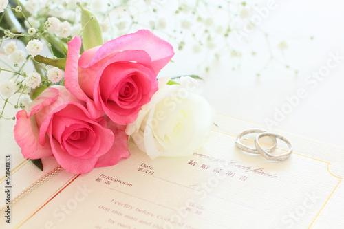 Fotografie, Obraz  薔薇と結婚証明書