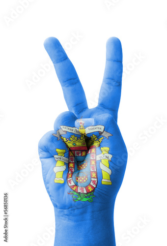 Hand making the V sign, Melilla flag painted