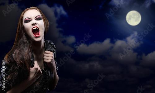 Fotobehang Volle maan Vampire girl on night sky