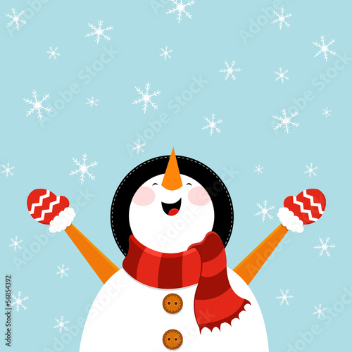 Snowman Enjoying Snow Canvas Print