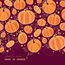 Vector Thanksgiving Pumpkins Horizontal Border Seamless Pattern