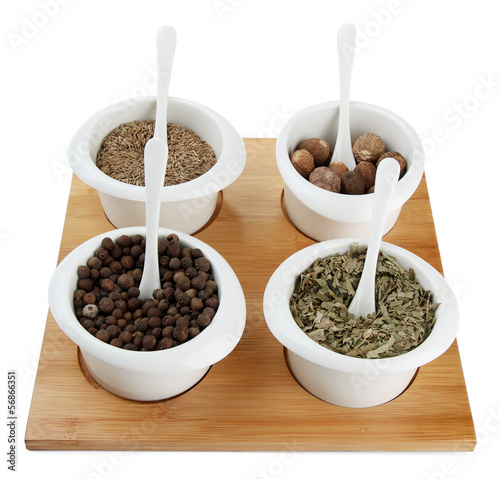 Foto op Canvas Kruiden 2 Assortment of spices in white bowls,