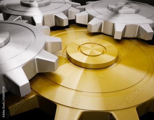 Photo  Golden gear 3d rendering create
