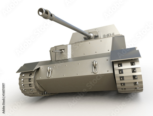 Photo  3d tank isolated on white background