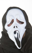 Woman Wearing Ghost Mask At Ha...