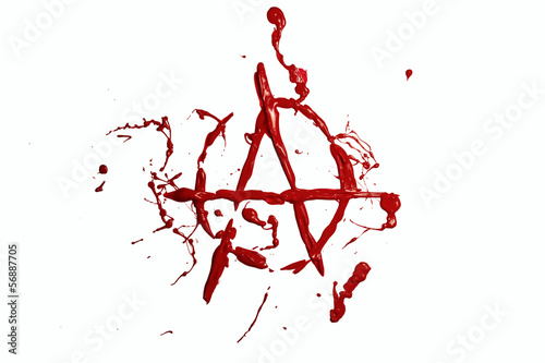 Photo Red paint painted anarchy sign