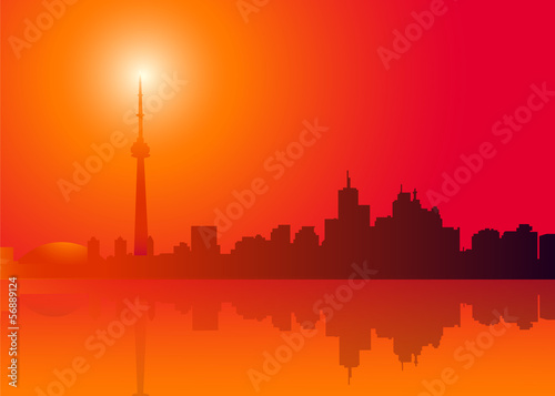 Staande foto India Toronto Skyline at Morning-vector illustration