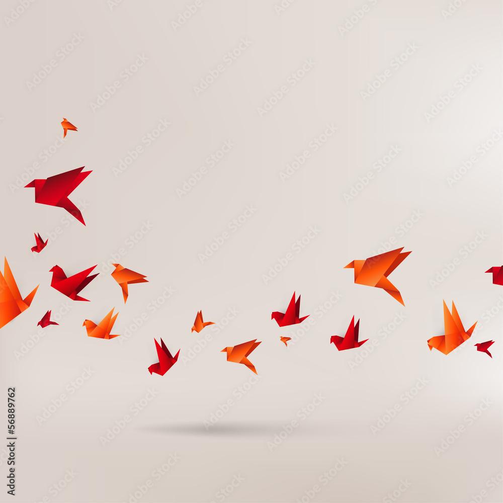 Fototapeta Origami paper bird on abstract background