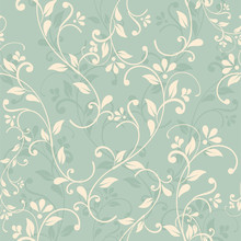 Seamless Floral Pattern On Green Background. Eps10
