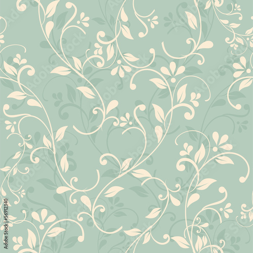 Fotografiet seamless floral pattern on green background. eps10