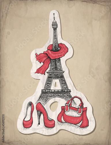 Recess Fitting Illustration Paris Fashion illustration. Eiffel Tower, shoes and handbag