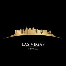Las Vegas Nevada City Skyline Silhouette Black Background