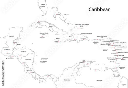 Outline Caribbean map Wallpaper Mural