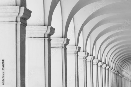 Long row of colonnade columns and arcs Canvas Print