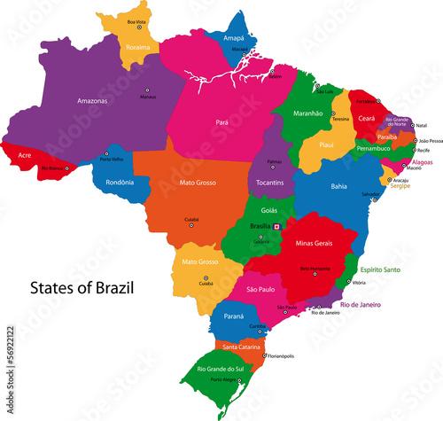 Fotografie, Obraz Brazil map