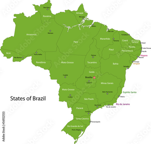 Fotomural  Green Brasilia map