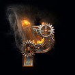 burning figure with gears