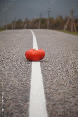 Foto op Plexiglas F1 Orange pumpkin on the road