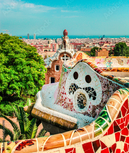 Photo  The famous Park Guell in Barcelona, Spain.