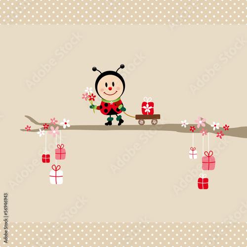 Poster Bloemen vrouw Ladybug Bouquet Pulling Handcart Tree Beige Dots