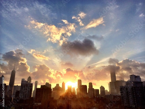 Spoed Foto op Canvas Zonsondergang Chicago Awakens