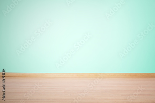 Poster Wall background, blank wall and floor in a blue green color