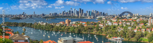 Montage in der Fensternische Australien Sydney Harbour panorama from Mosman
