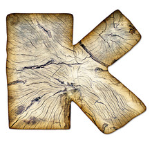 Wood Textured Alphabet - Letter K, Isolated With A Clipping Path