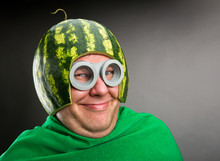 Funny Man With Watermelon Helmet And Googles