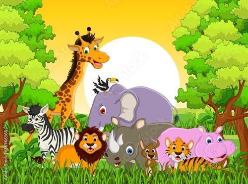 Naklejka premium cute przyrody zwierząt z tłem lasu
