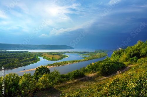 Tuinposter Blauw The river Volga, the city of Samara