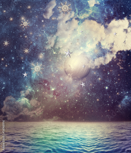 Canvas Prints Imagination Sea ​​in the starry night
