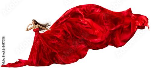 Fényképezés  Woman in red dress, fabric waving, beautiful flying long tail