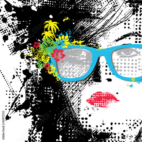 Photo sur Aluminium Visage de femme Women in sunglasses