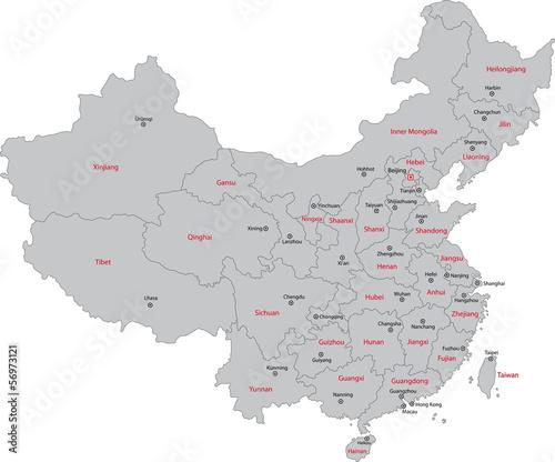 Gray China map Wall mural