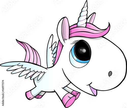 Poster Cartoon draw Cute Unicorn Pegasus Vector Illustration Art