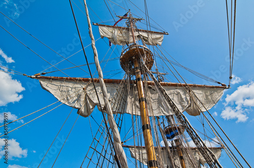 Fotografie, Obraz  Mast with sails of an old sailing vessel