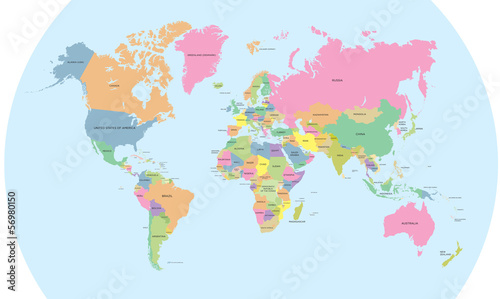Coloured political map of the world vector Wallpaper Mural