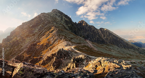 Foto op Aluminium Grijze traf. Sunset in mountains in High Tatras, Slovakia